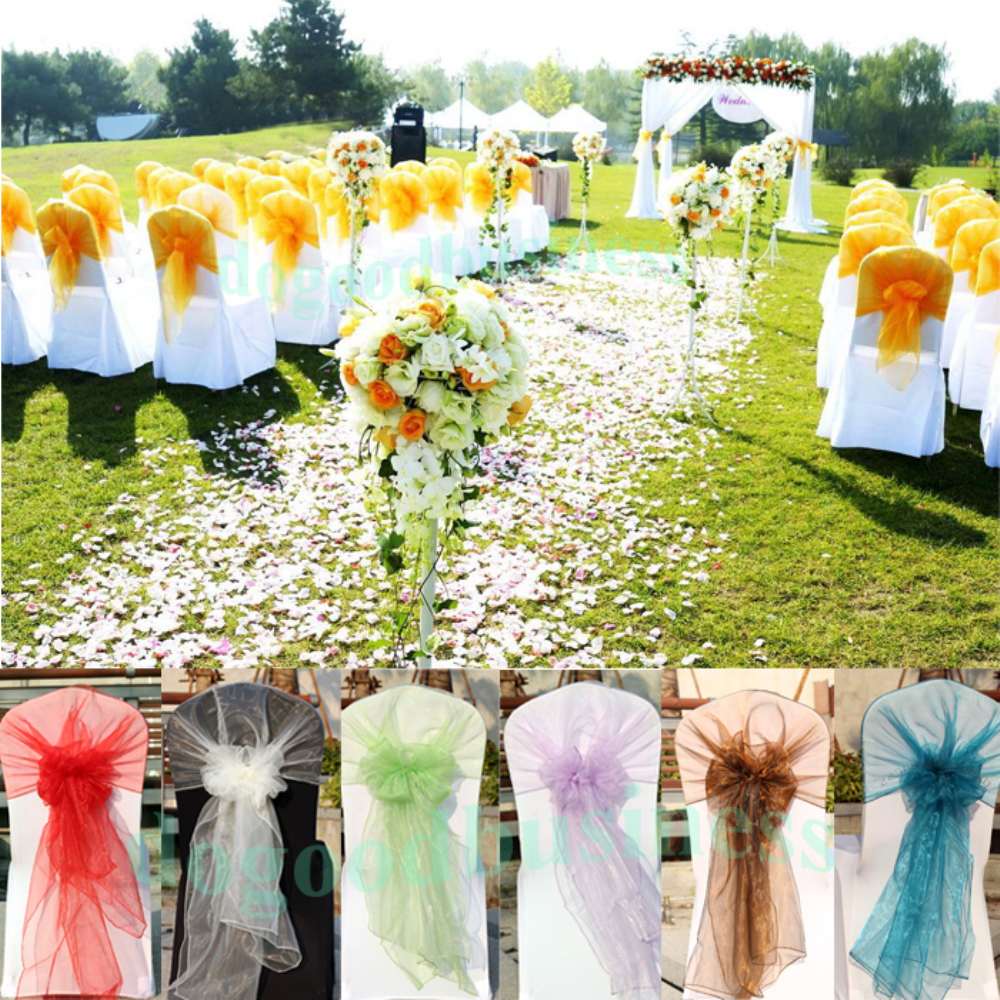 50 PCS New 65 275 Chair Cover Sashes Organza chair hood Wedding Sash Party Wedding Decorations