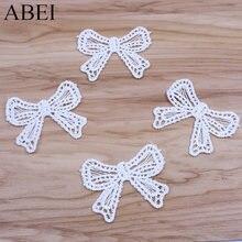 30 pçs/lote Bordado Borboleta Branca Arco Apliques DIY Roupas Decoração Vestuário Acessórios de Costura Artesanal Patchwork Artesanato
