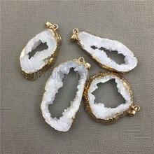 MY0411 Freeform White Crystal Quartz Slice Drusy  Pendant Charm, Quartz Druzy  Slab Pure Gold Color Edge Necklace Pendant n091808 18 29 7 strands pearl necklace quartz druzy pendant