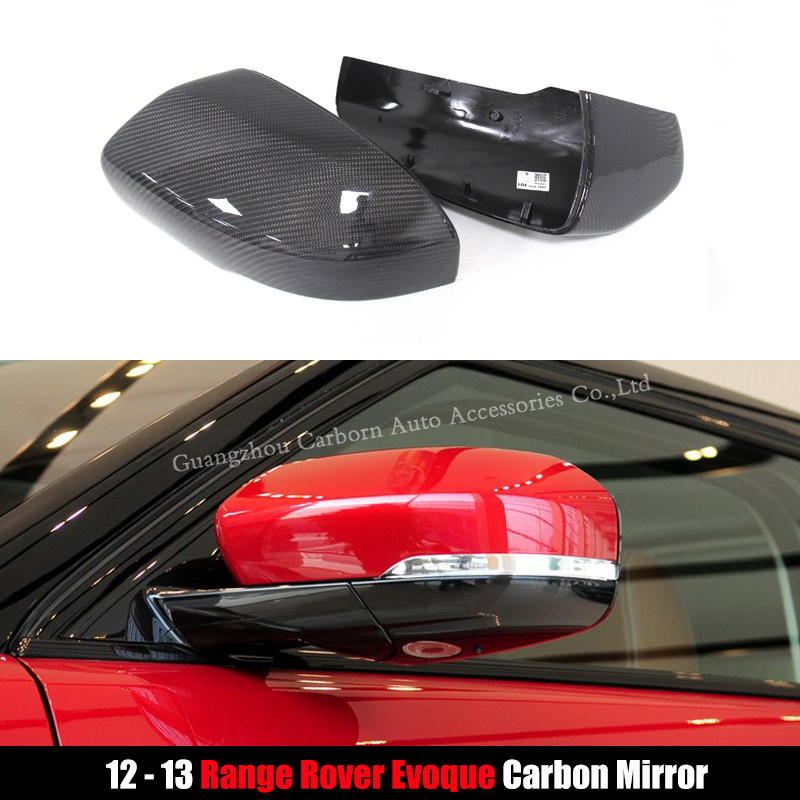 For Land Rover Range Rover Evoque 2012 2013 Replacement Type Gloss Black Carbon Fiber Mirror Cover Body Side Rear View Mirrors in Mirror Covers from Automobiles Motorcycles