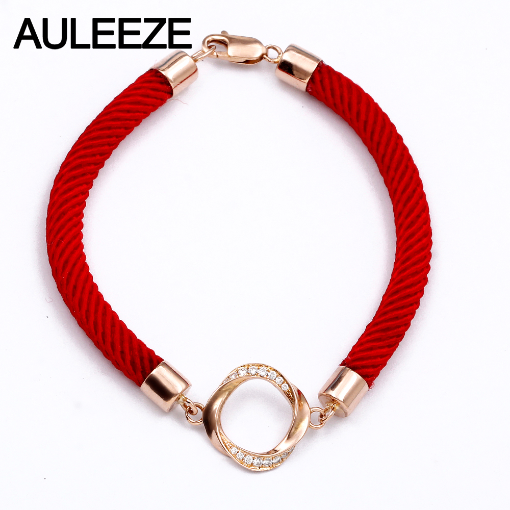 AULEEZE Simplicity 0.13CTTW Real Natural Diamond Bracelet Solid 18K 750 Rose Gold Red Rope Bracelets For Women Fine Jewelry