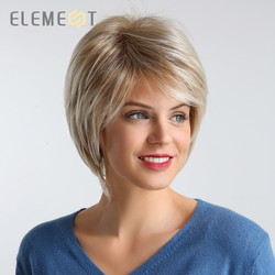 Element 6 inch Kurze Synthetische Haar Perücke für Frauen Mischung 50% Menschliches Haar Mix Brown Farbe Natur Schlagzeile Party Arbeit perücken