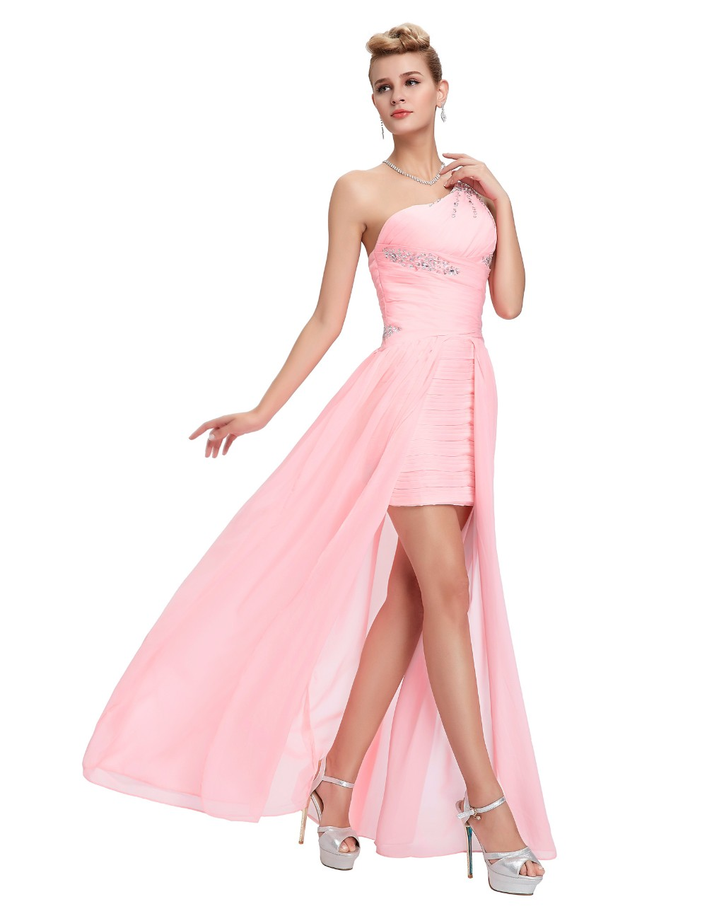 Light Pink Bridesmaid Dresses Grace Karin Beaded Chiffon One Shoulder Formal Gowns Short Front Long Back Wedding Party Dresses 10