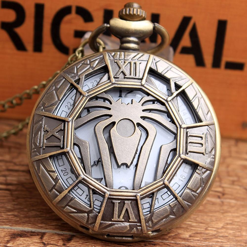 Men Women Marvel Film Spider-Man Quartz Pocket Watches Fob Chain Hollow 3D Spider Time Clock Relogio Masculino Relogio De Bolso