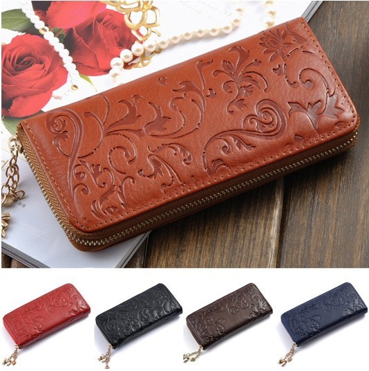 Hot Selling Genuine Leather Wallet Women Zipper Around Purse Flower pattern Lady Long Wallets Bags Handbags, ANS-OL-60017QN