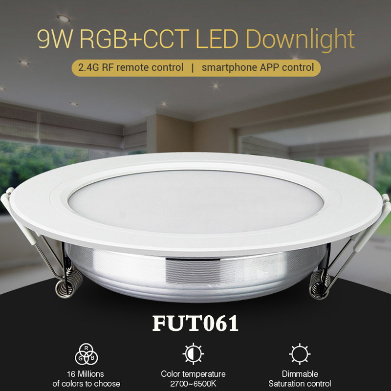 NEW Milight FUT061 9W RGB+CCT Led Downlight Dimmable AC220V Recessed Downlight 2700K~6500K Can Remote/phone/Amazon Voice Control