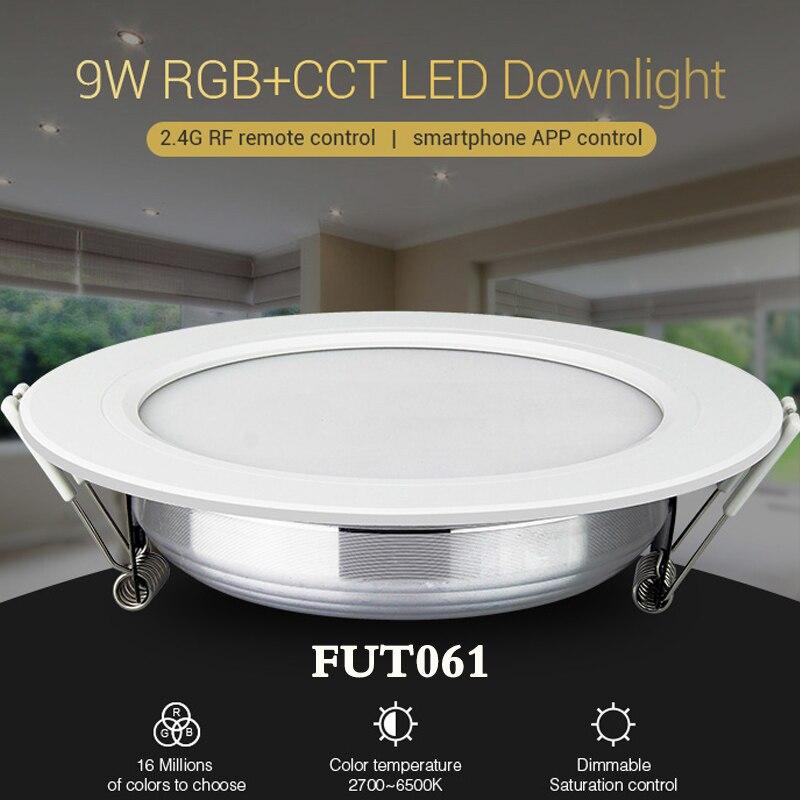 NOVA milight FUT061 AC220V 9W RGB + CCT Downlight levou dimmable recesso Downlight 2700K ~ 6500K pode remoto/telefone/Amazon controle de Voz
