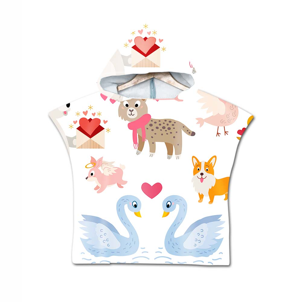 3D Printing Cartoon Animals Pattern Beach Towel Baby Children Hooded Bath Towel Baby Boys Girls Bath Soft Towel