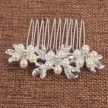 Rhinestone Pearl Flower Leaf Bridal Hair Comb for Girls Crystal Hair Ornaments Jewelry Wedding Hair Accessories цены онлайн
