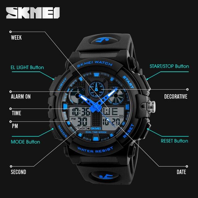 SKMEI Luxury Brand Men Sports Watches Digital Led Men Wristwatches 50m Water Resistant Relogio Masculino Quartz Watch For Man 4