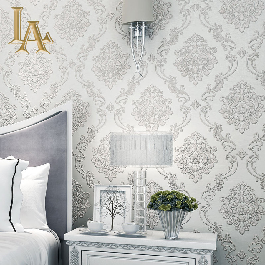Classic European Style Wall papers Home Decor embossed 3D Damask Wallpaper Roll Bedroom Living Room Sofa TV Background cube 2 360