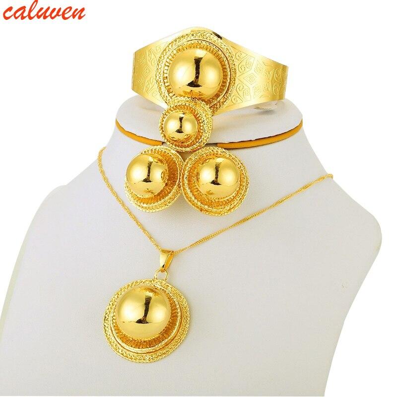 Etiopské zlaté šperky sada náhrdelník / náušnice / prsten zlaté barvy Habesha šperky sady, Afrika Eritrea Svatební dárky