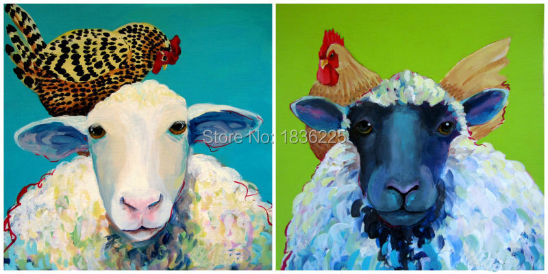 canvas sheep paintings on canvas cheap art painting handmade by artists for home decor chicken on the goat head oil painting