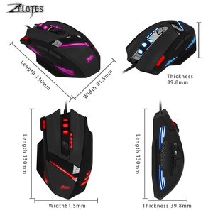 Image 4 - ZEALOT T 60 Wired Gaming Mouse 7 button 3200 DPI 4 Color LED Light Optical USB Computer Gamer Mice for PC laptop