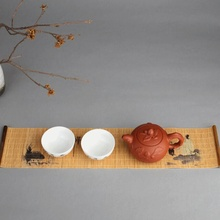 Элегантный чайный поднос, салфетка, ткань, водонепроницаемый, для стола, бегунок, чайный коврик, аксессуары для чайной церемонии, ручной работы, бамбуковый занавес, подарок