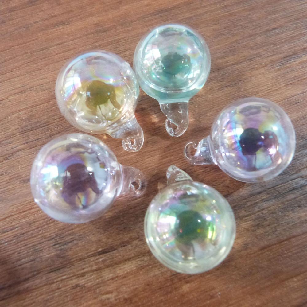 New fashion 20mm round glass globe soap bubble bottle colorful liquid beads in vial wishing vial pendant charms 100pcs/lot-in Charms from Jewelry & Accessories    1