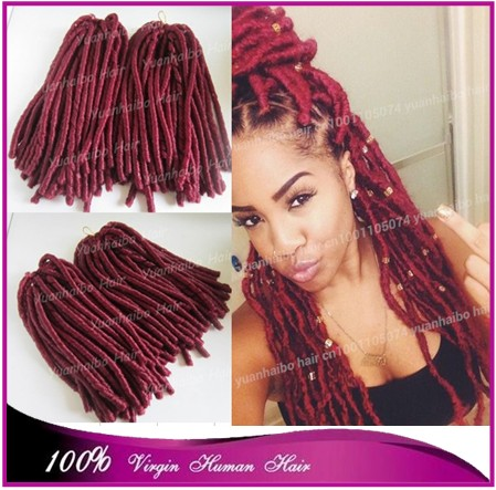 New style!15inch folded long burgundy color synthetic dreadlock ...