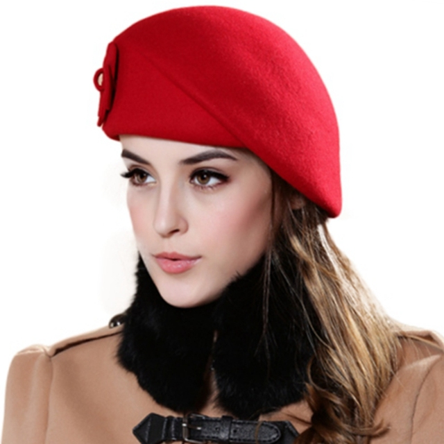 62d99c67cc4 Wool Felt Winter Women Hat Brand Quality Classic Solid Appliques Beret Caps  Elegant Church Hat Wedding Fedora flat Formal hat