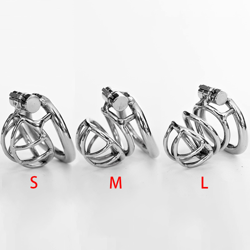 Newest Stealth Lock Chastity Device Stainless Steel Cock Cage Penis Ring Virginity Lock