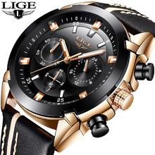 2018 LIGE Mens Watch Leather Sport LIGE9864