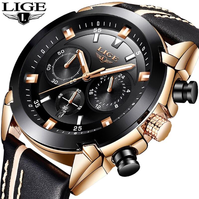 2018 LIGE Mode Hommes Montres Top Marque De Luxe 24 heure Date Quartz Montre Homme En Cuir Sport Montre-Bracelet Hommes Étanche horloge + Boîte