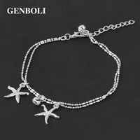 GENBOLI Women Fashionable Ladies Lovely Starfish Anklet Foot Chain Trendy Sea Star Ankle with Small Bells Accesory Party Gifts