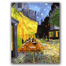 Coloring paints by numbers vencent Van goghs paintings Cafe Terrace at night pictures  with kits package