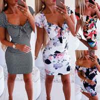 Hot Sexy Women Dress Bandage Bodycon Ladies Casual Short Sleeve Sexy Club Party Dress Sheath Short Mini Dress Girls