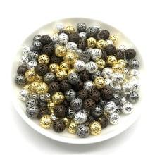 4, 6, 8, 10 мм, 30-200 шт, металлические круглые бусины для изготовления ювелирных изделий, сделай сам, браслет, ожерелье