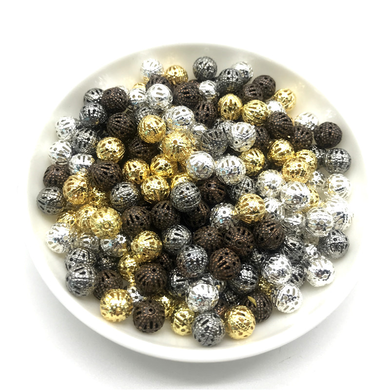 4 6 8 10mm 30-200pcs Metal Round Seed Spacer Beads For Jewelry Making DIY Bracelet Necklace