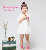 In stock family look clothing mom and daughter dress 6t princess girls mother and daughter clothes lace dress