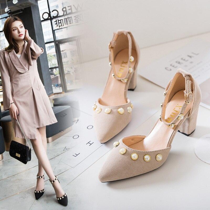 Women Shoes Pumps Pearl Pointed-Toe High-Heels Summer Feminino GIRL Fashion UNIGUE Tenis