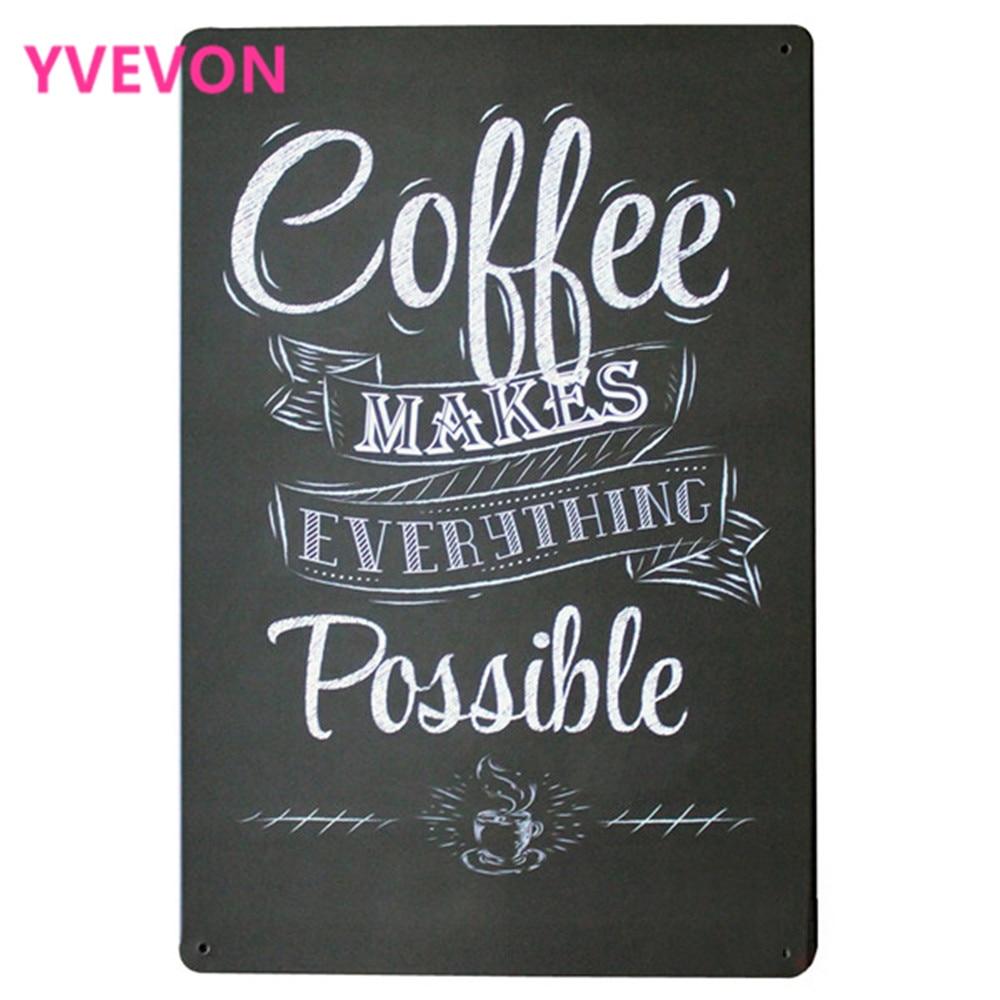 KÁVÉ MINŐSÉG MINDEN LEHETSÉGES Fém ónjel Vintage Kávé Plakát teaidőhöz butikboltban LJ5-10 20x30cm B1