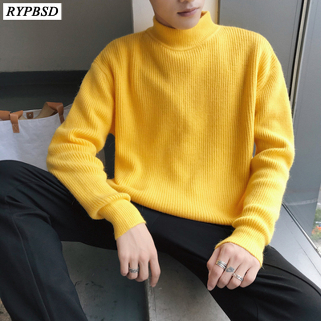 Winter 2019 New High Neck Thick Warm Sweater Men Turtleneck Brand Mens  Sweaters Slim Fit Pullover Men Knitwear Male ce7492122