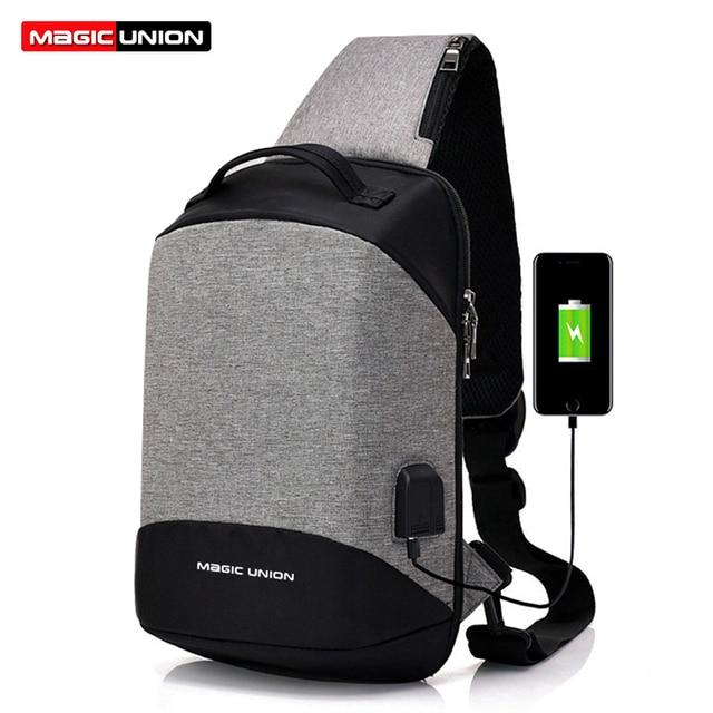 MAGIC UNION USB Charge One Shoulder Bag Men Small Messenger Bags Male Waterproof Chest Bag Bagpack Cross Body Bag