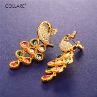 U7 Vintage Peacock Earrings For Women Yellow Gold Plated Rhinestone Luxury Crystal Drop Long Earrings Fashion