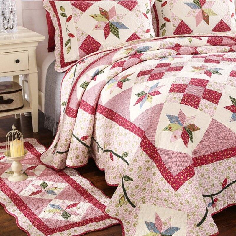 Juego de edredón de retales de estilo coreano 3 piezas de ropa de cama de verano acolchado colcha de algodón-in Colchas from Hogar y Mascotas    2