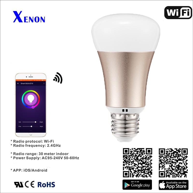 Xenon Smart Bulb Wireless wifi LED RGB Light Bulb Lamp E27 5W Remote control via APP compatible with Alexa echo Lighting Bulb xenon wi fi bulb smart wreless bulb app control rgb e27 led lamps hot sale smart led lighting bulbs works with amazon echo alexa