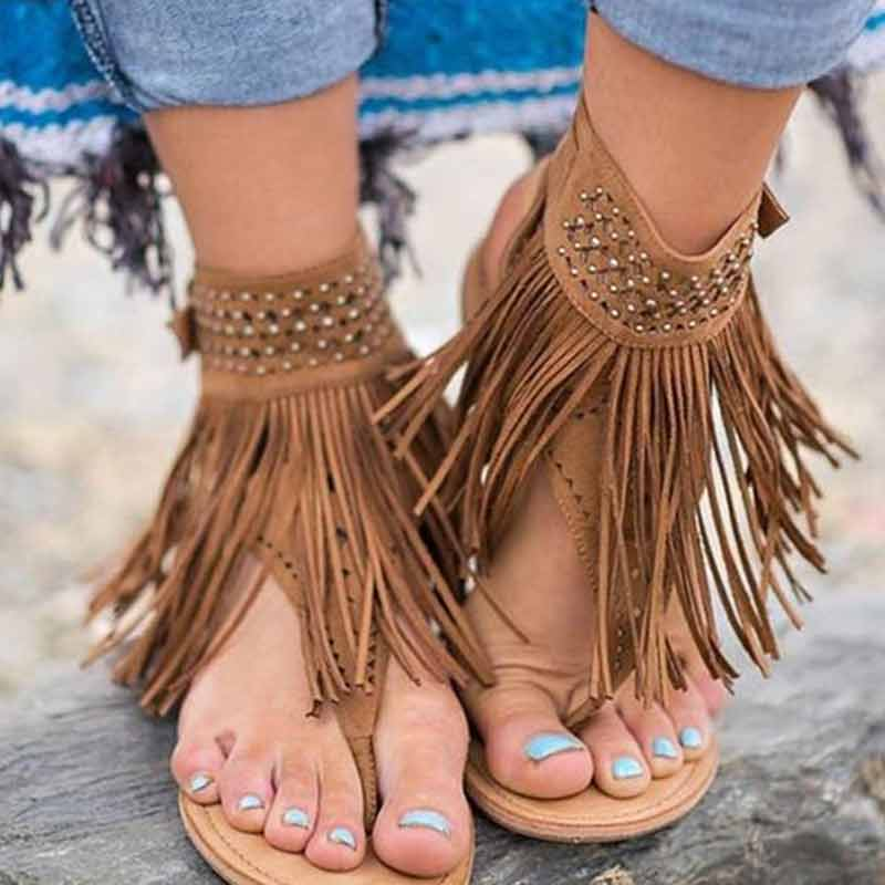 Zielsetzung Rom Flache Sandalen Retro Gladiator Sandalen Frauen Damen Flip-flops Schnalle Fringe Sandalia Feminina Sommer Strand Schuhe Schuhe Frauen Schuhe