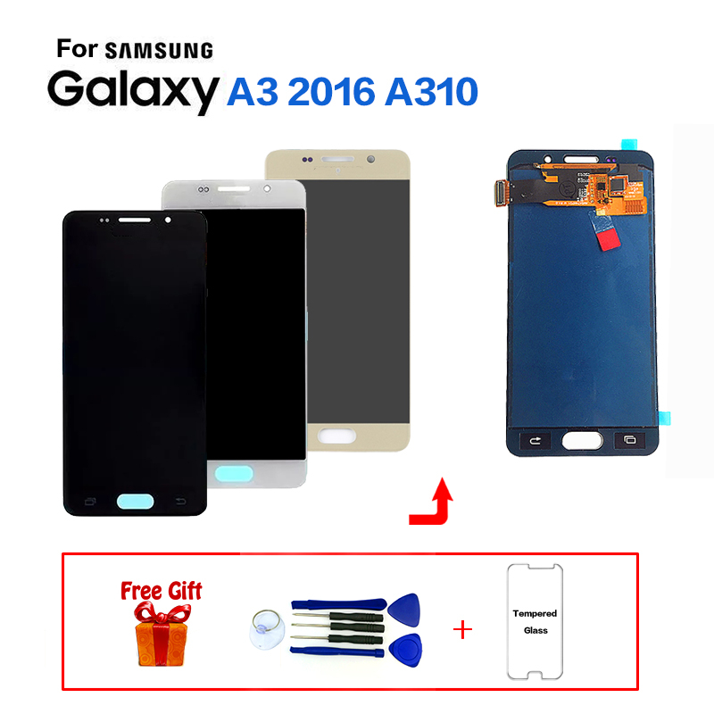 For <font><b>Samsung</b></font> <font><b>Galaxy</b></font> <font><b>A3</b></font> <font><b>2016</b></font> A310 <font><b>SM</b></font>-<font><b>A310F</b></font> Display LCD Screen replacement For <font><b>samsung</b></font> <font><b>SM</b></font>-A310M A310Y lcd display screen module image