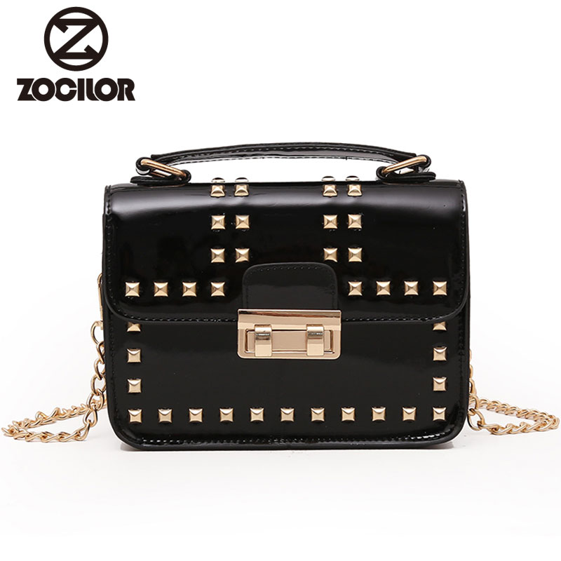 Fashion 2018 rivet Vintage PU Leather Women Bag Fashion Small Women Messenger Bag Single Strap Shoulder Bag Chain Crossbody Bags