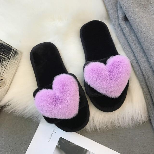 3836c4fd773 Women Faux Fur Slippers Heart Shape Winter Home Slippers Women 2018 Korean  Fashion Keep Warm Female Slides Slip on Flat Pink