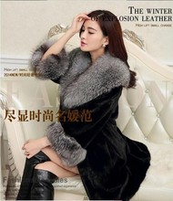 Free Shipping Women'S Long Fox Fur Collar Jacket Casual Slim Mink Fur Coat Large Size Patchwork Femlae Winter Outwear Black J273