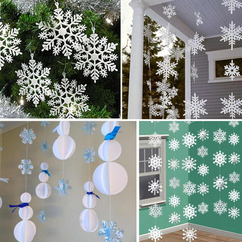 3D Christmas White Snowflake Card Paper snowflake Paper Flowers Garland  Banner