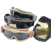 Nowy Anti-Fog Okulary Taktyczne CS Anti Fog Big Okulary Ochronne Gogle Oczu Bezpieczeństwa dla Airsoft Wojskowe Pustyni