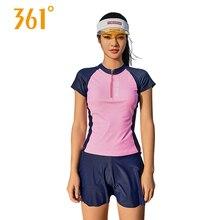 Купить с кэшбэком 361 Women Sport Swimwear Female Wire Free Short Sleeves Swimsuits Women's Push Up Sport Tankini Pool Swimming Suit Bathing Suits