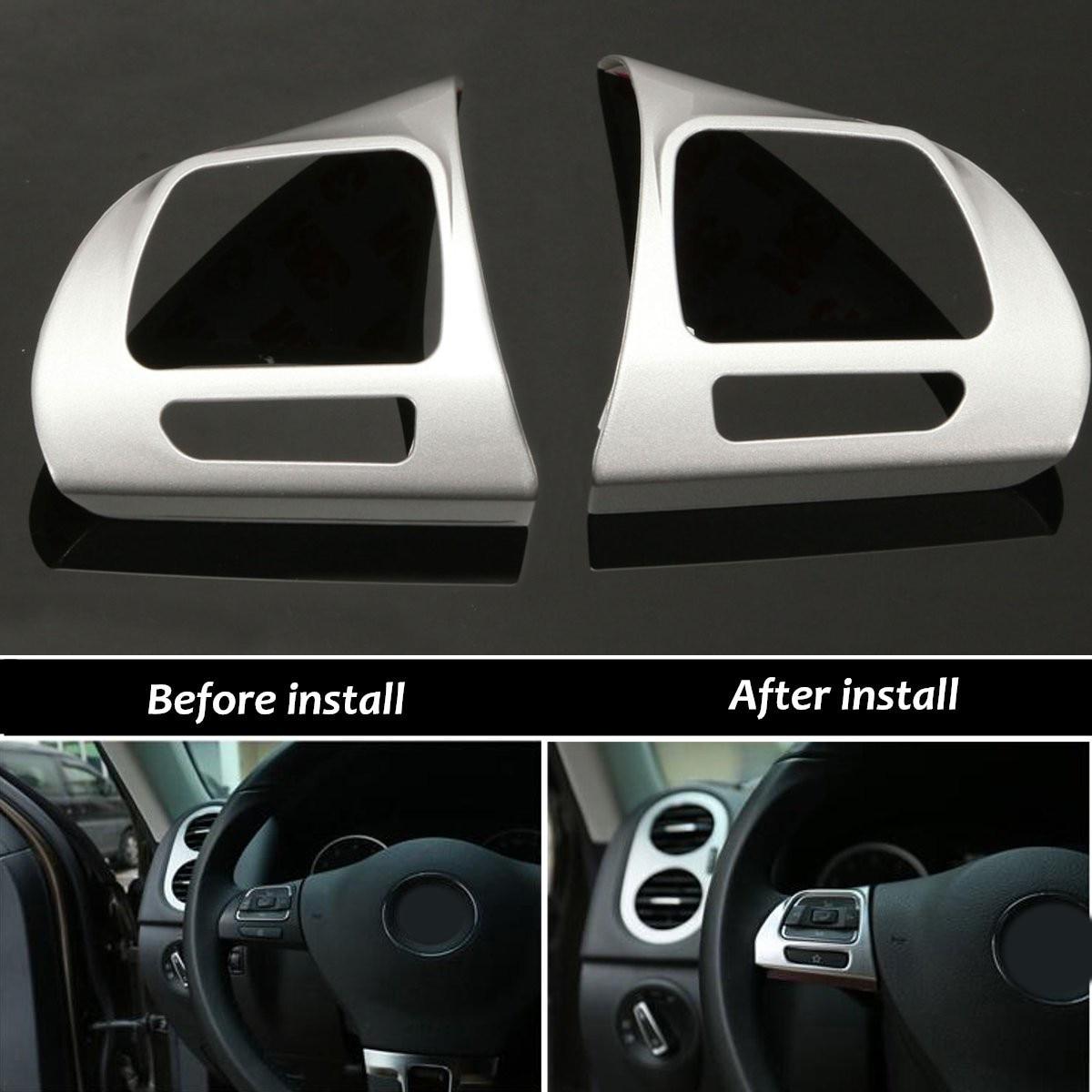 Pair Steering Wheel Chrome Insert Trim Cover Badge For VW Golf MK6 Jetta Passat B7 CC New