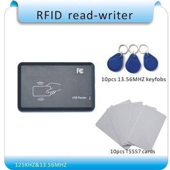 Envío Gratis 125KHZ y 13,56 MHZ frecuencia de funcionamiento doble RFID read-writer/puerto USB sin unidad, escribir número de pedido