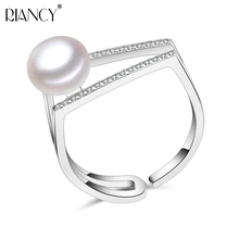 Real Pearl Rings,Silver Ring with Shiny Gem-studded Adjustable Size Freshwater Natural Pearl Ring 925 silver Jewelry