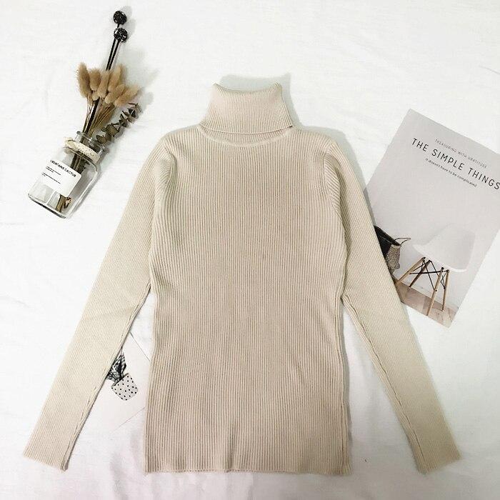 Женские свитера, зимние топы, водолазка, свитер для женщин, тонкий пуловер, джемпер, вязаный свитер, Pull Femme Hiver Truien Dames, новинка - Цвет: Бежевый